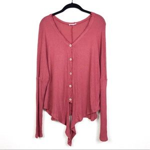 Hummingbird Waffle Knit Tie Relaxed Thermal Top S